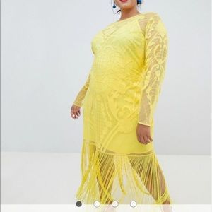 Yellow ASOS fringe dress